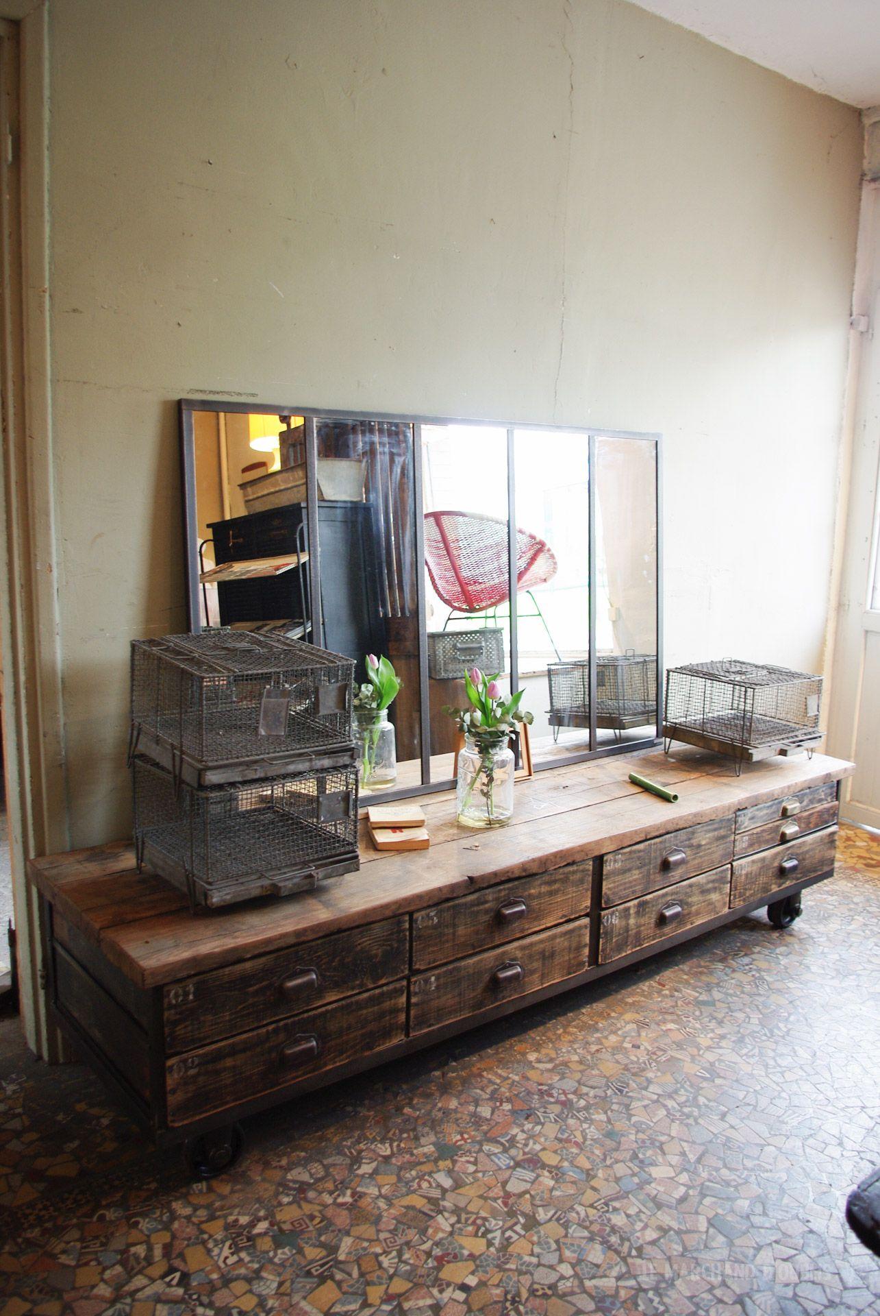 Ancien meuble de mécanicien métal & bois Début XXéme par le