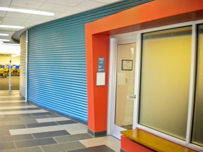 Elegant Cor Pan Corrugated Metal Wall Panel From IMETCO Creates A Dynamic Entry Way  For This