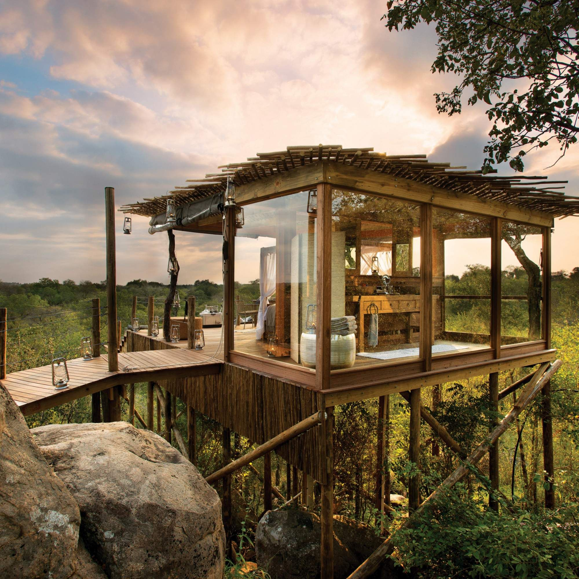 Sleep above the lions in these luxe African treehouses