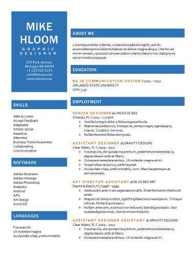 Free Resume Template By HloomCom  Project Management
