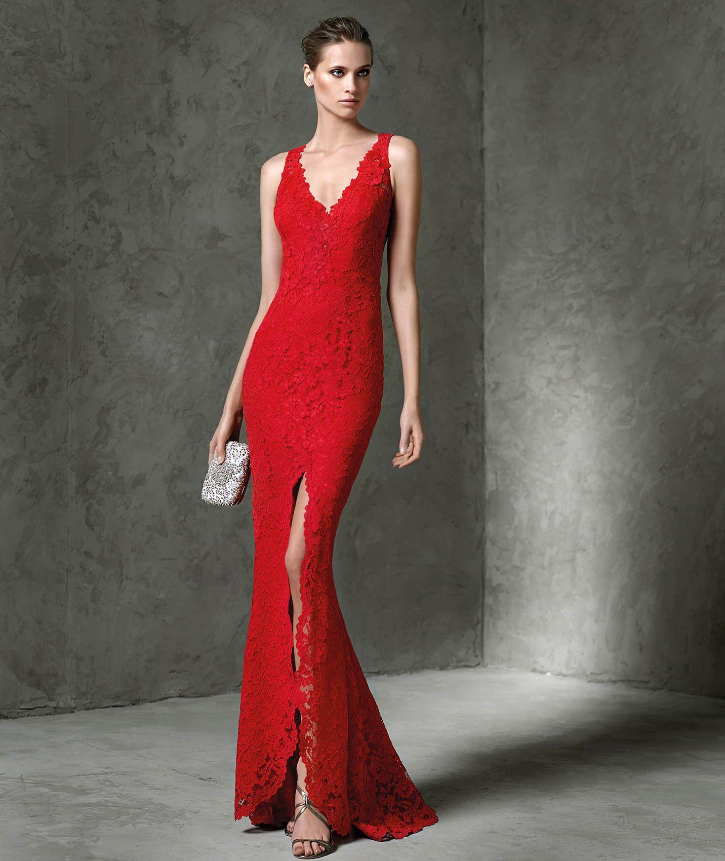 Wishesbridal Backless V Neck Floor Length Red #Lace Sheath Column ...