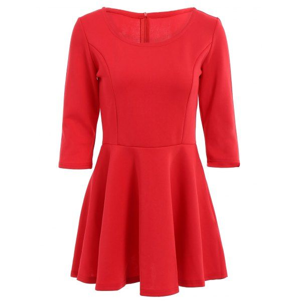 Stylish Scoop Neck 3/4 Sleeve Solid Color A Line Women's Dress — 11.88 € Size: XL Color: RED