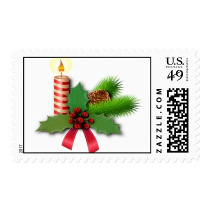 Christmas Candle Holly and Pine Bough Postage - christmas cards