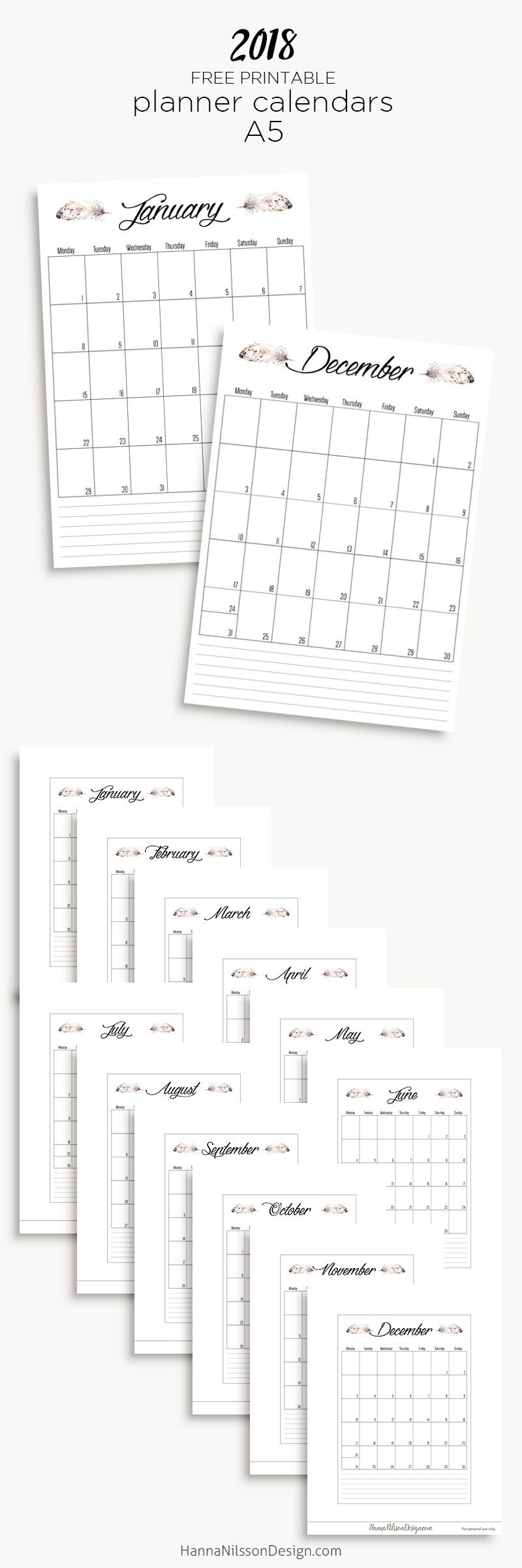 Free Printable Yearly Calendar  Planner Inserts  Filofax