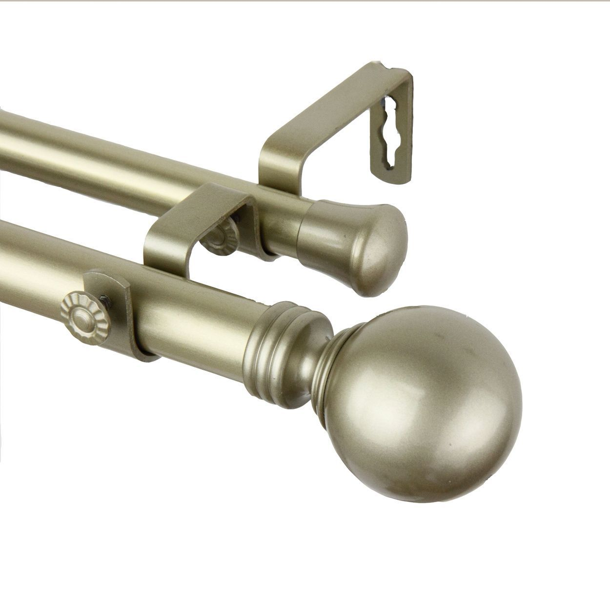 Instyledesign Sphere Light Gold Adjustable Double Curtain Rod