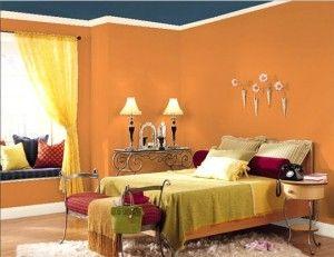 Blue Ceiling Orange Brown Walls Bedroom Wall Colors Bedroom Wall Paint Colors Best Bedroom Paint Colors