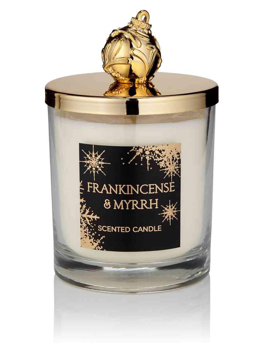 Frankincense myrrh lidded scented filled candle
