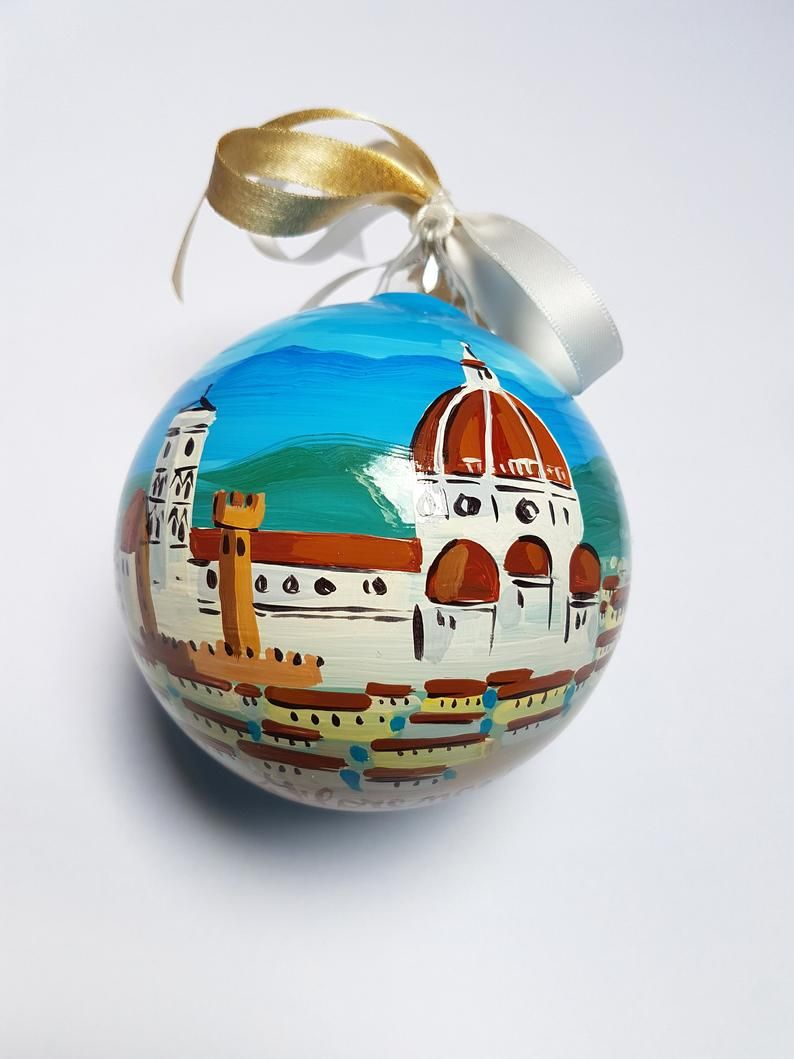 Florence Hand Painted Ornament In Italy Original Gift For Etsy Original Wedding Gifts Etsy Classic Christmas Decorations