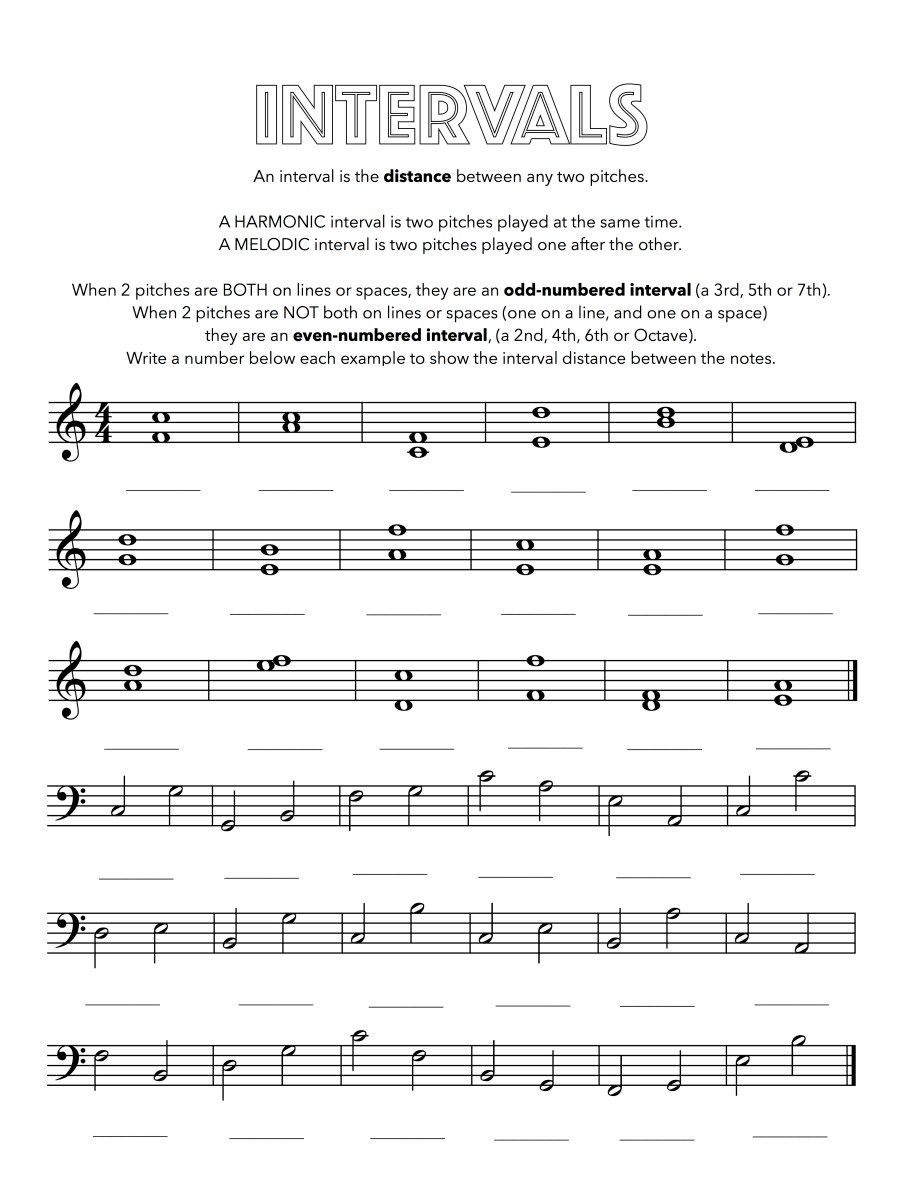 Intervals Worksheet In 2020 Music Theory Worksheets Free Music Theory Worksheets Music Education Lessons