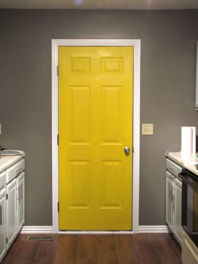 Painting Kitchen Doors A Different Color Would You Do It Yellow Laundry Rooms Yellow Bathrooms Yellow Grey Bathroom
