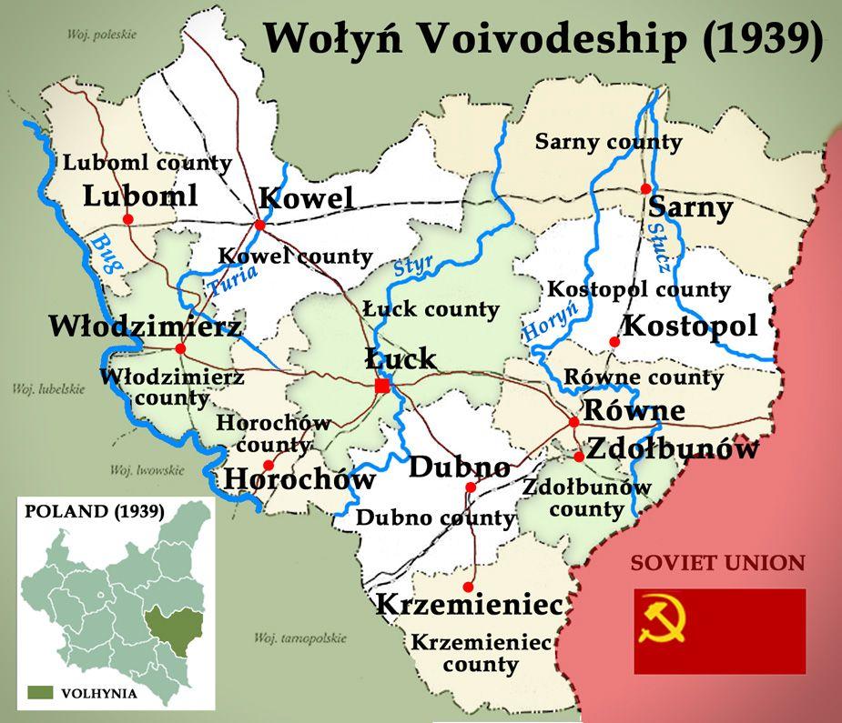 Volhynia 1939 Poland (Województwo Wołyńskie) - Wołyń Voivodeship - new world map blank wikipedia