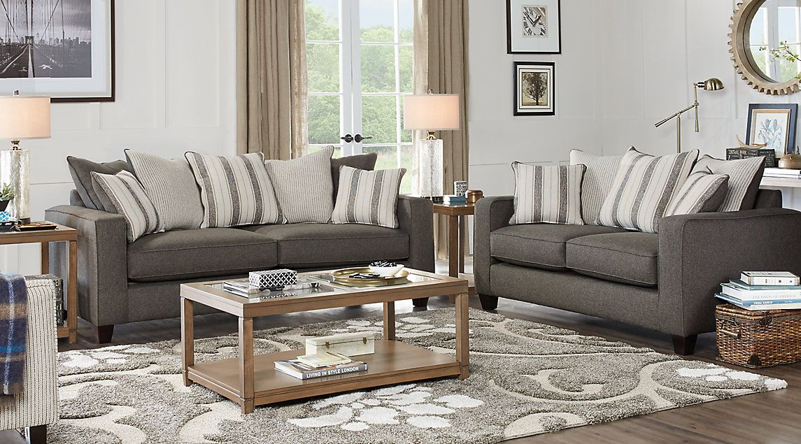 Living Room Sets At Rooms To Go parker place gray sofa, loveseat, 3 tables and 2 lamps, $1500