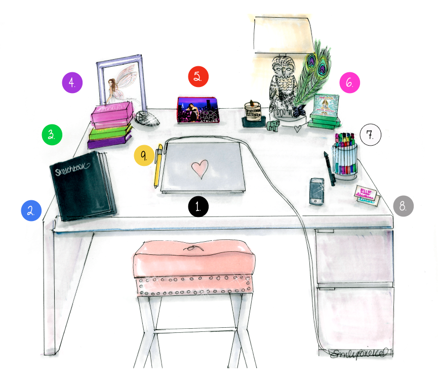 Desk zen blog illustration by emily brickel my for Bureau zen feng shui