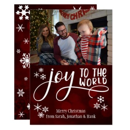 Joy to the World Snowflakes  Your Photo Card - christmas cards