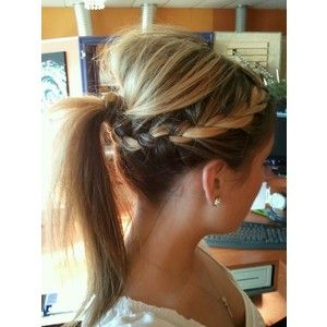 Fine French Braid Into Ponytail With A Poof On Top Hair Pinterest Short Hairstyles Gunalazisus