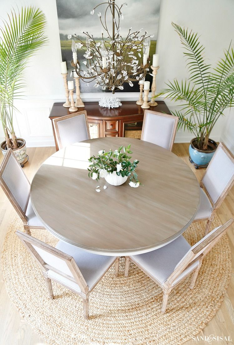 Walk This Step By Tutorial Of A Driftwood Refinished Veneer Tabletop Refinishing Is Possible Transform Traditional Into Coastal Chic Design