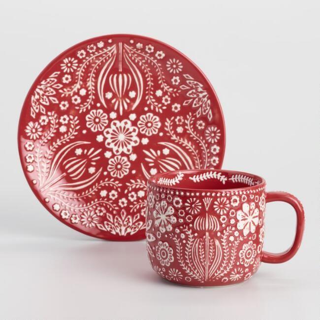 Red Jolly Hearts Plates Set of 4 - v3 #mugsset