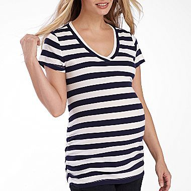 77d1e0ebc16af jcp | duo™ Maternity Striped Tee, Side Ruched V neck Jcp has great prices