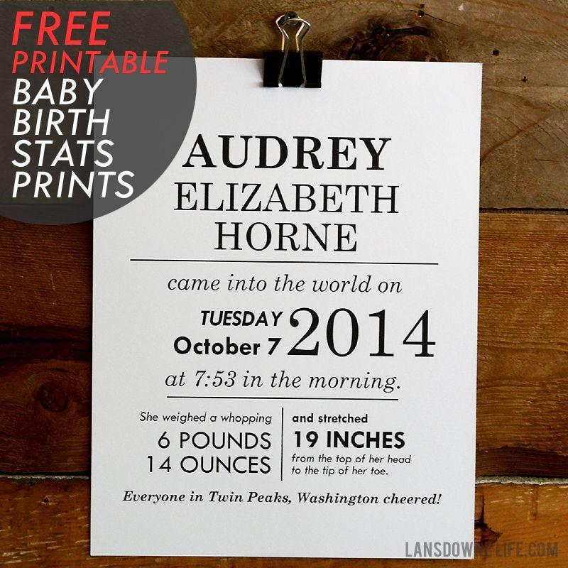 FREE printables: Baby birth stats wall art - Lansdowne Life