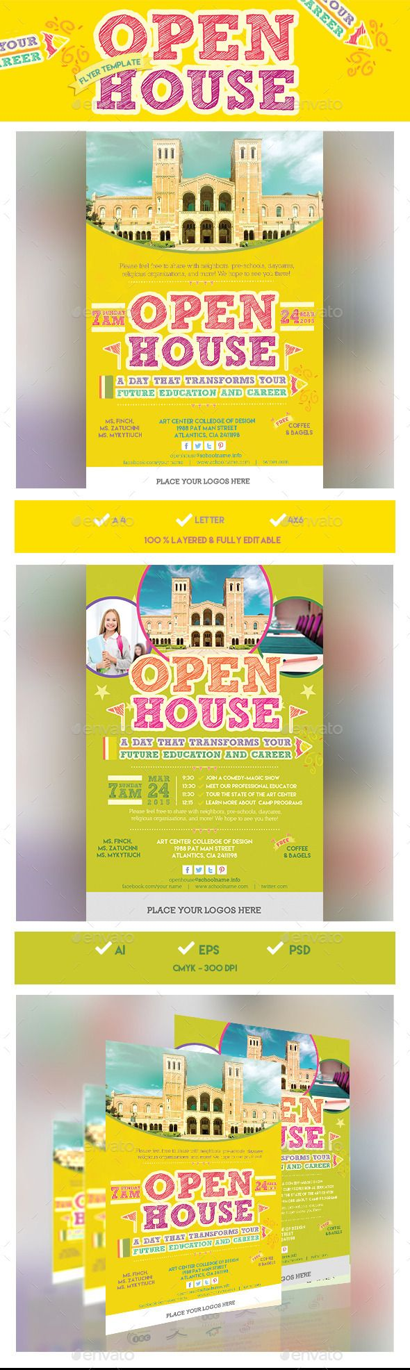 School Open House Flyer Template Design Conference Consultant