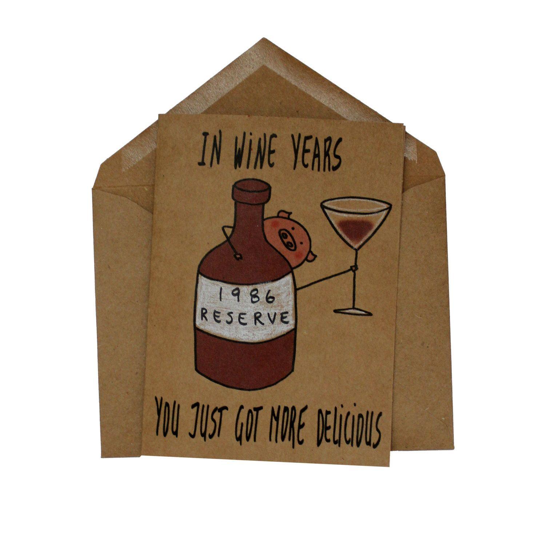 Funny 30th Birthday Card Wine