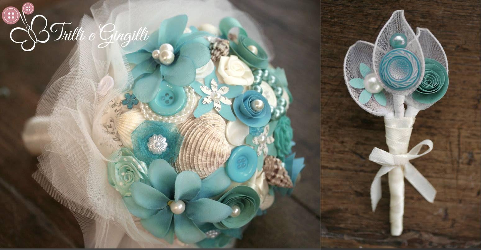 fdc2efbae0 Bouquet tema mare: Bouquet di Conchiglie sui toni del turchese e verde  acqua, con