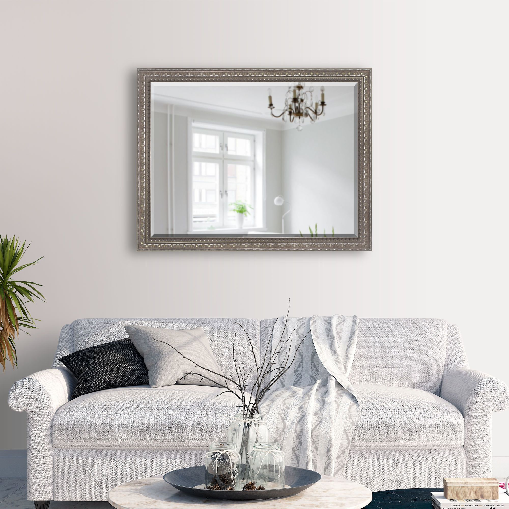 80mm Wide Bronzed Silver Frame With Bevelled Mirror Overall Size 115 6 X 90 2 Cm Traditional Mirrors Classic Mirror Mirror [ 2000 x 2000 Pixel ]