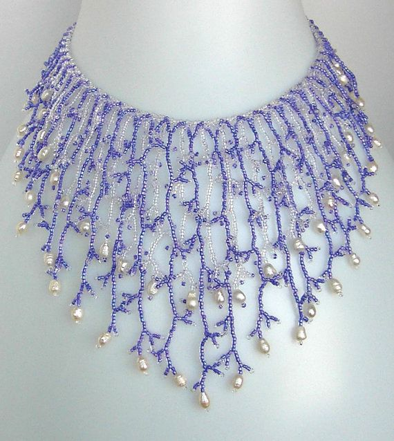 Pattern Seed Beaded Necklace Netting Stitch Tutorial Instructions Awesome Beaded Necklace Patterns