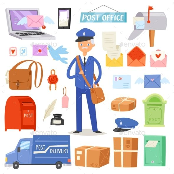 Post Office Vector Postman Delivers Mails