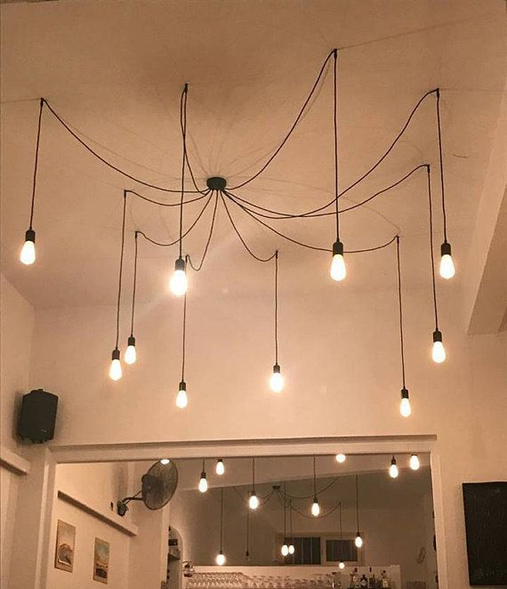 choose cable lighting. Spider Minimal Industrial Cable Chandelier In Many Textile And Plastic Cables. Choose Your Color Lighting H