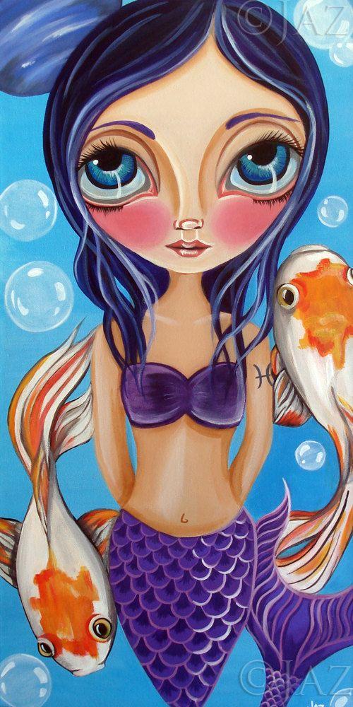 Art Print Pisces Mermaid By Jaz Higgins On Esty