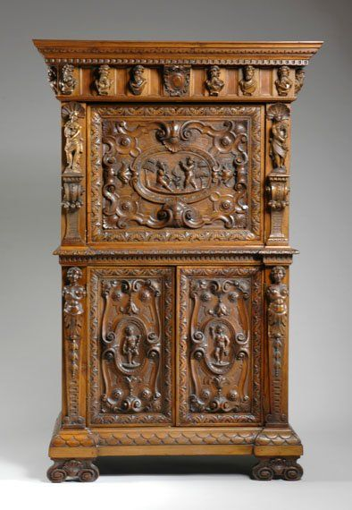 2098 Italian Renaissance Revival Carved Walnut Cabinet Lot 2098