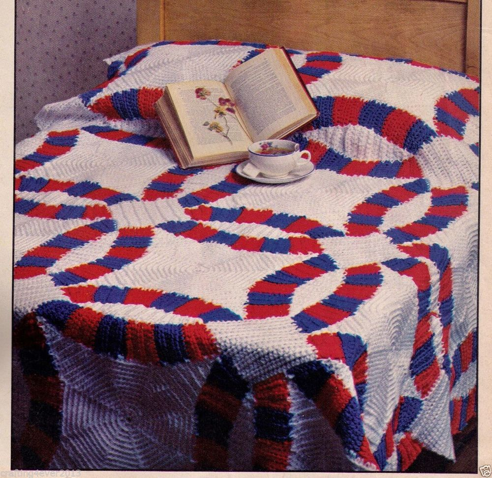 Vintage Double Wedding Ring Afghan Bedspread 145 X 186 Cms 4 Ply Crochet Pattern