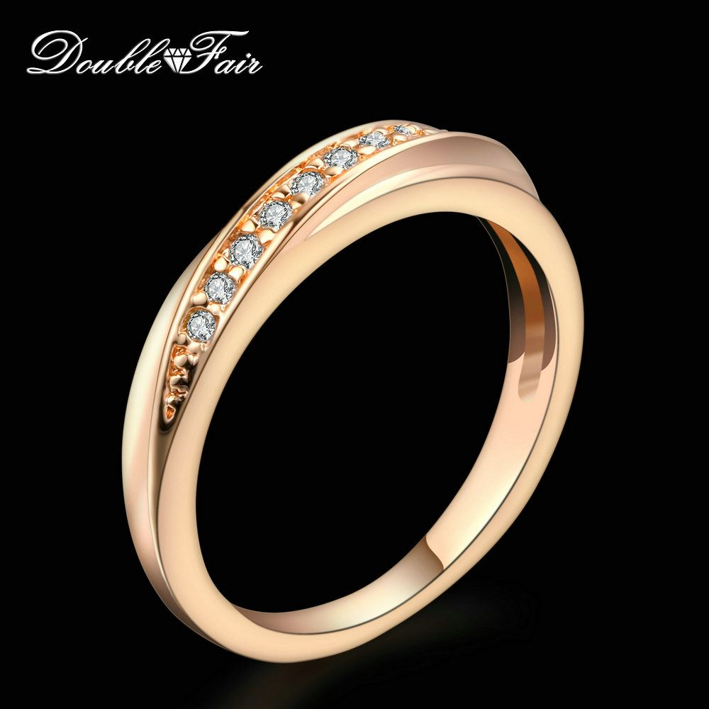 Double fair unico cubic zirconia wedding/anelli di fidanzamento monili di marca di modo per le donne all'ingrosso 18 krgp dell'amante anel dfr314