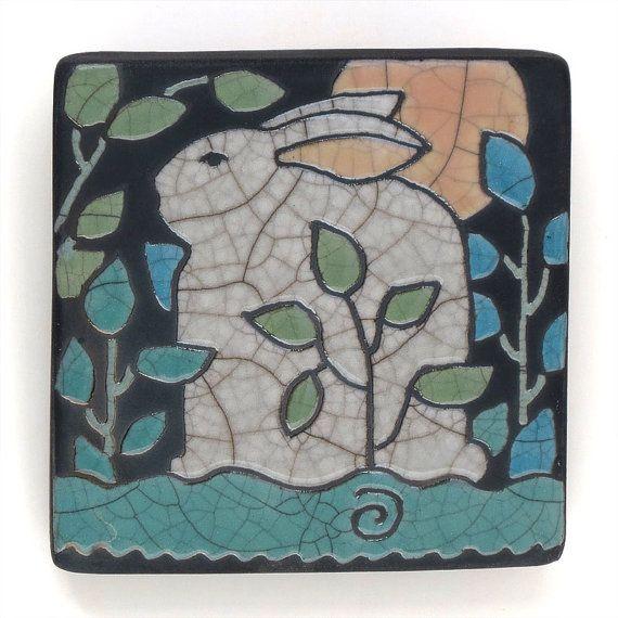 Decorative 4X4 Ceramic Tiles Fascinating Rabbitbunnyceramic Tile Moon Wall Art4X4 Raku Fired Art Tile Inspiration Design