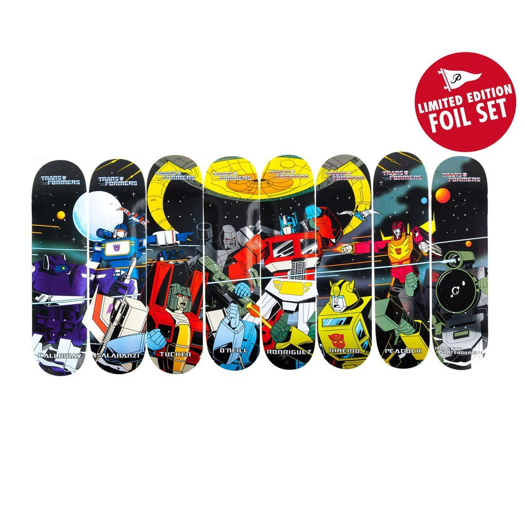 Primitive Skateboarding X Transformers Full Set Of All 8 Limited Deck Skateboard Baker Red Foil Logo Edition Decks And Top Graphics Are Shown
