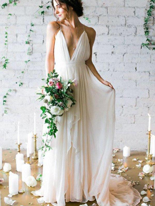 Simple Backless Beach Wedding Dresses, Chiffon Long Custom