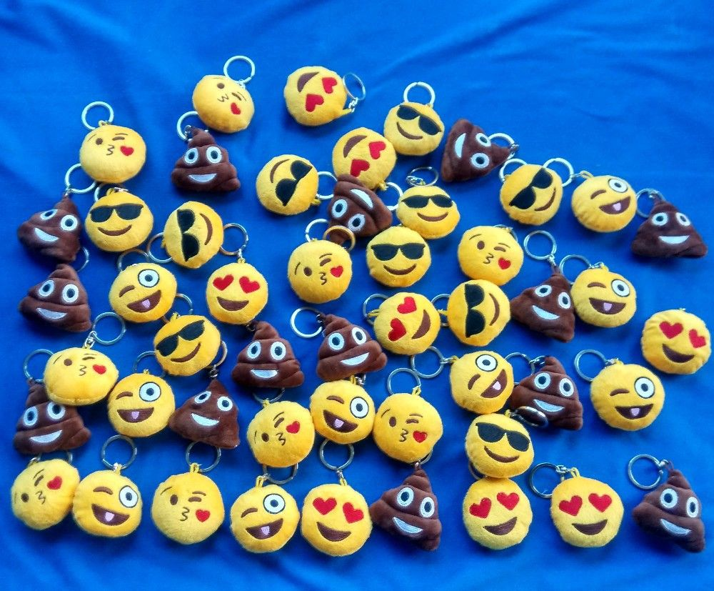 cool Hot Selling 5 Style Cute Yellow Emoji Cushion Stuffed & Plush Key Chains Phone Emoji Keychain Emoticon Key Ring