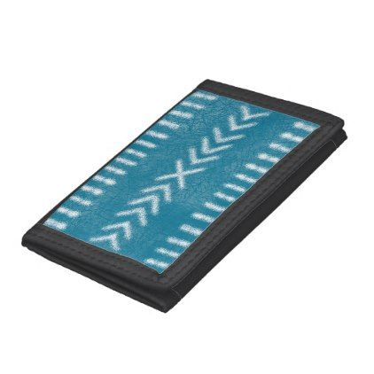 Minimalist Tribal on Turquoise Blue Tri-fold Wallet - light gifts template style unique special diy