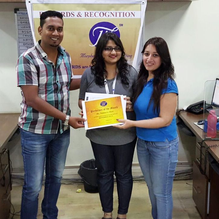 aishwarya received performer of the month certificate plus reward points for maximizing team performance morpheusconsulting rewards