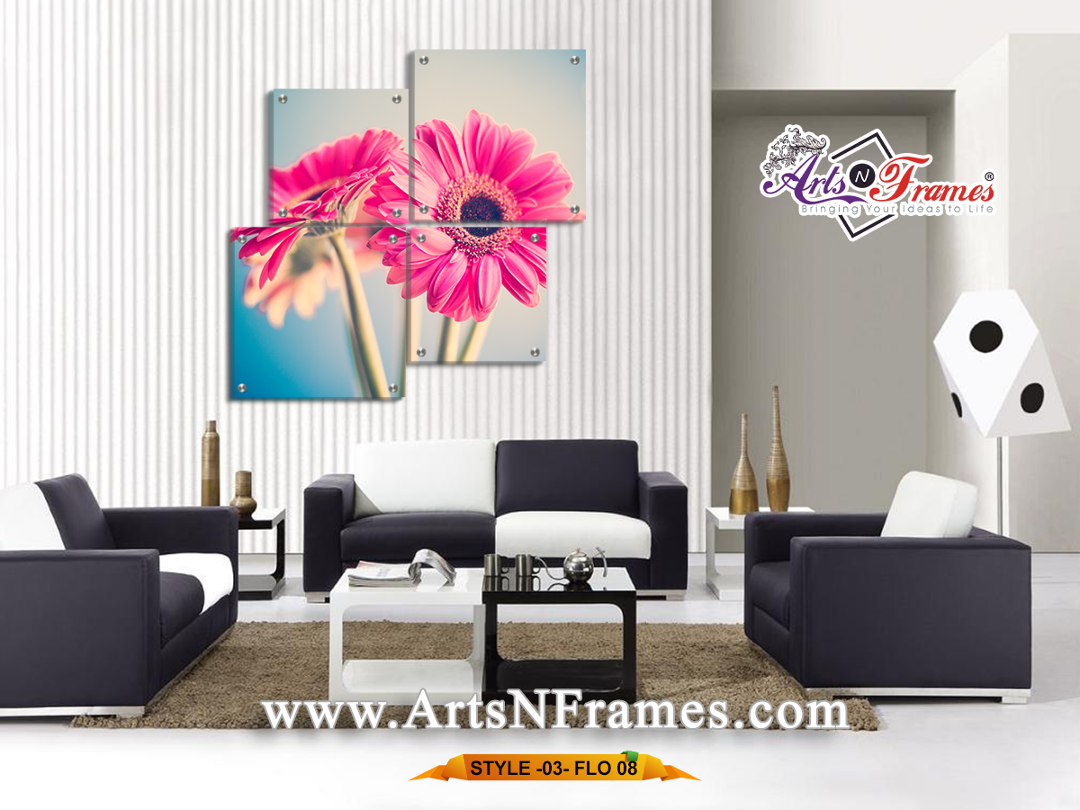 Pink Flower Wall Art - Large Wall Art - 4 Pieces Wall Art (Made in ...