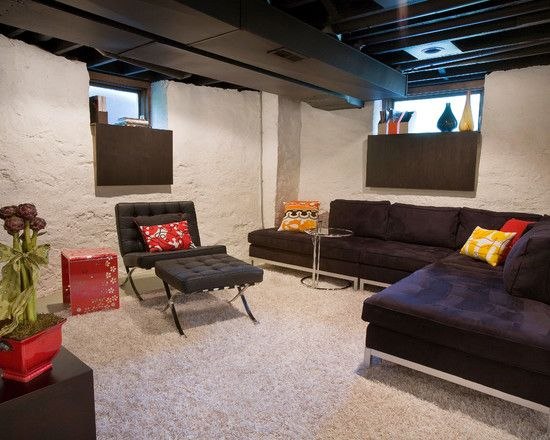 Contemporary Unfinished Basement Lighting Ideas Pin And More On Throughout Decorating
