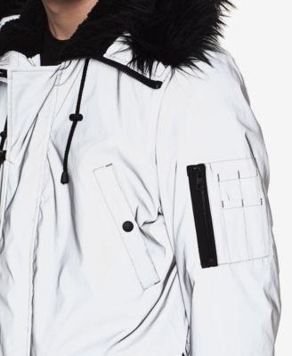 fb8393c3c6a86 Calvin Klein Jeans Mens Reflective Arctic Parka - Silver XL