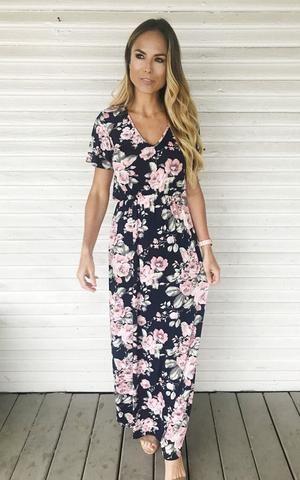 a87990b42e17 Navy pink floral dress. Maxi dress. Short sleeve floral maxi dress.  Spring/Summer dress.