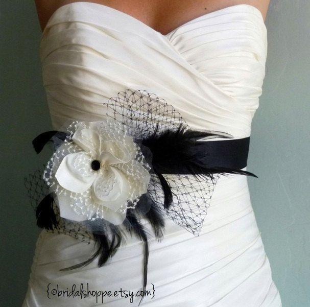 Black and Ivory Bridal Sash, Bridal Belt, Bridal Accessories ...