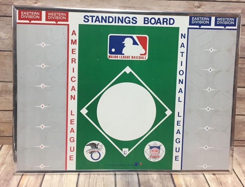 Vintage Mlb Magnetic Standings Board Baseball American National Leagues National League Baseball Equipment Baseball