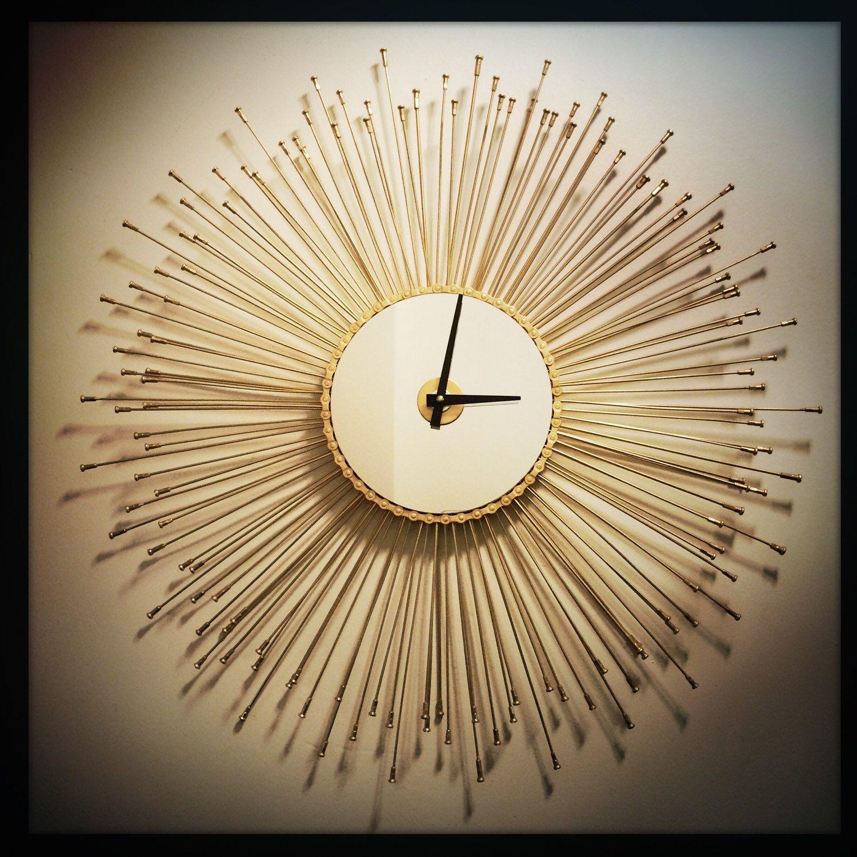 Starburst Clock, Mid Century Wall Decor, Oversized Wall Clock, Boho ...