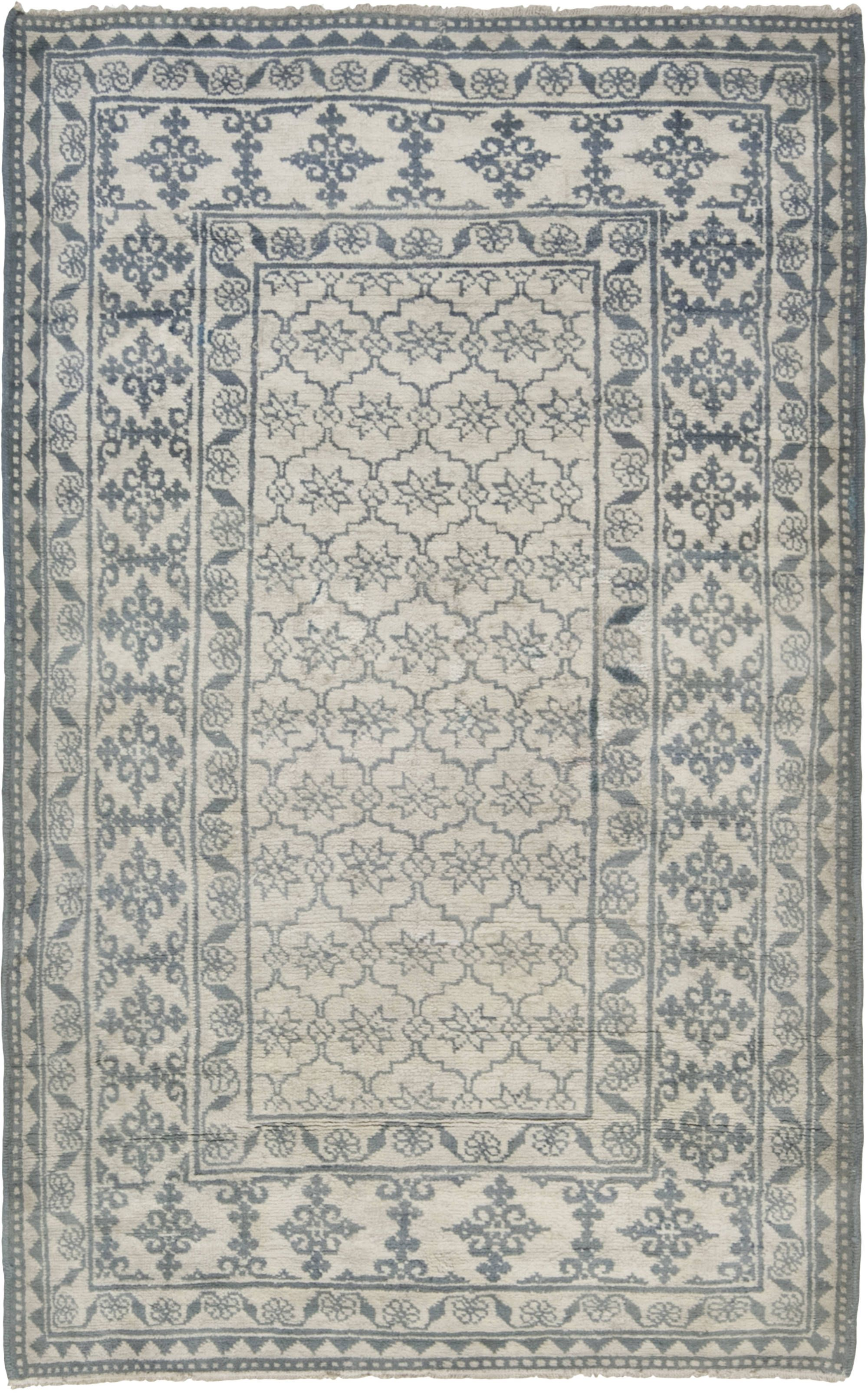 Antique Indian Cotton Agra Rug Carpet Handmade Agra Rug Patterned Carpet