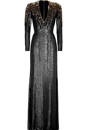 JENNY PACKHAM  Black/Gold Sequined Silk Gown