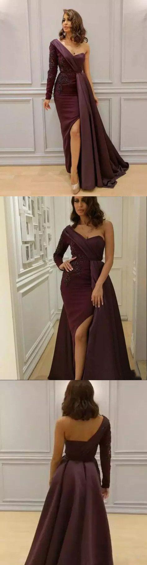 chic one shoulder prom dresses long sleeve burgundy long prom